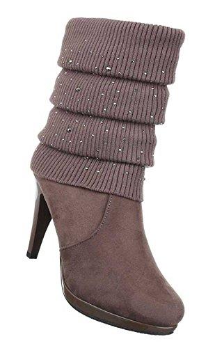 Stiefeletten Heels Stiletto High Damen Grau Braun Schuhe fCBxgqdnw