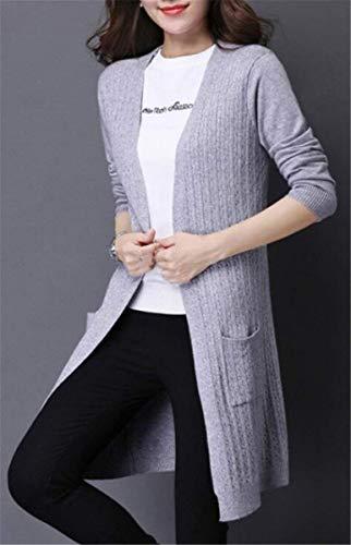 Glamorous Relaxed Forcella Semplice Maglia Maniche Autunno Tasche Giubotto Moda Donne A Colore Primaverile Con Coat Elegante Aperto Giacca Pullover Lunghe Grau Puro Outwear Squisito Casual aqzO56