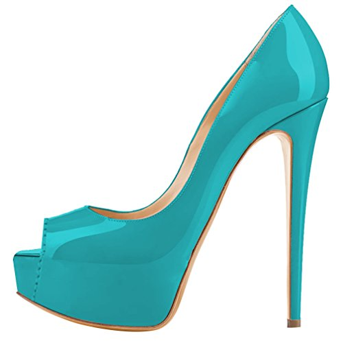 MONICOCO Women's Peep Toe Platform High Heel Party Pumps Shoes Teal Patent 6 US