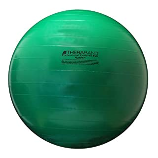 "TheraBand Exercise Ball, Stability Ball with 65 cm Diameter for Athletes 5'7"" to 6'1"" Tall, Standard Fitness Ball for Posture, Balance, Yoga, Pilates, Core, Rehab, Green"