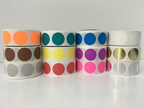 12 Rolls of 1000 Labels each color 1/2