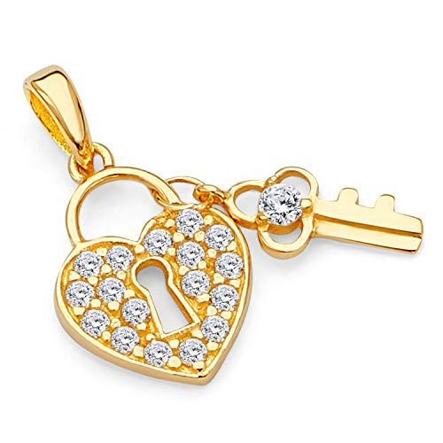 14k Yellow Gold CZ Heart Lock & Key Charm Pendant