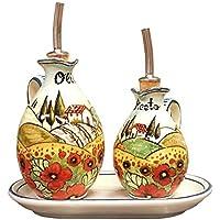 CERAMICHE D'ARTE PARRINI - Italian Ceramic Set Cruet Oil Vinegar Art Pottery Decorated Poppies Hand Painted Made in ITALY Tuscan