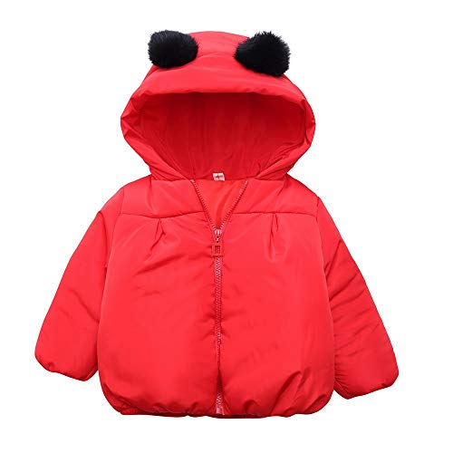 Clearance Winter Toddler Baby Boys Girls Thick Hooded Coat Cloak Outdoor Spoot Warm Cartoon Panda Windproof Jacket Outfit (Red B, 18-24Months) for $<!--$6.03-->