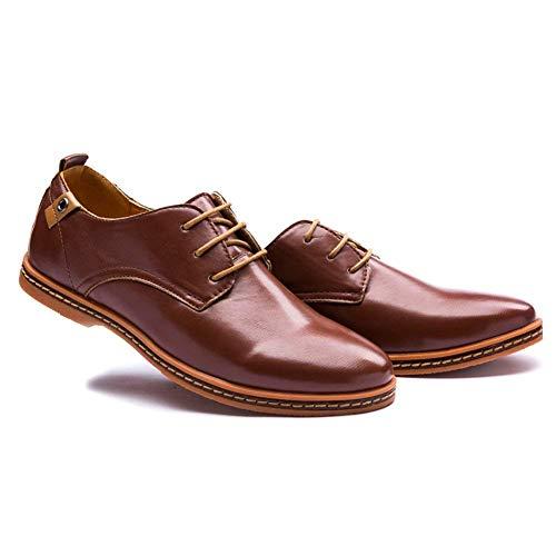Estilo de Minetom con de Cuero Hombres Vestir Cordones Marrón de de Boda Negocios Oxfords Comodidad Planos Zapatos Británico BcwCRc5q