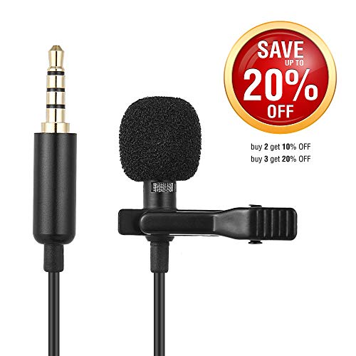 NEW VERSION Lavalier Lapel Smartphone Omnidirectional Microphone, with Lav Mic Clip and Windscreen for iPhone and smartphone - external video recording - easy clip on tie or shirt, IOS, Samsung, DSLR (Windscreens Mic Accessories)
