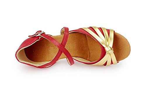 Miyoopark ,  Mädchen Tanzschuhe Red/Gold-3.5cm Heel