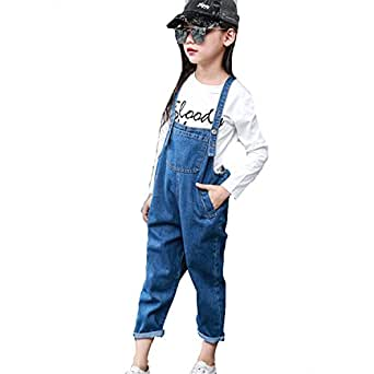 34f965ba9ff Felds Big Kids Jeans Overalls For Girls Denim Trousers Children Solid Pants  Autumn Jumpsuit Black 3T