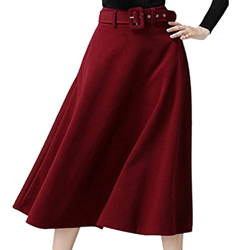 Wool Red Skirt Suit (Comaba Womens Wool and Warm Fit and Flare A-Line Skirt with Pockets Red M)