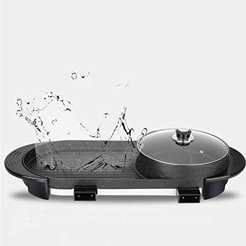 H-LML 2 en 1 Grill électrique Domestique 110V Multifonction Barbecue intérieur d'un Pot sans fumée antiadhésive de Cuisson électrique