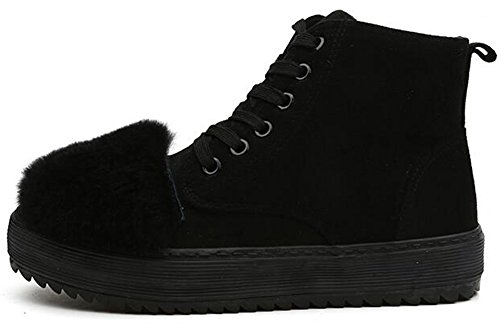 Summerwhisper Womens Stylish Fluffy Fur Faux Suede Lace up Ankle High Sneakers Fleece Lined Flats Short Snow Boots Black vKyisMbWQx