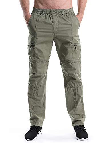 - Men's Elastic Waist Relaxed Straight Leg Baggy Pull On Cargo Pants Khaki Tag 4XL - US 40