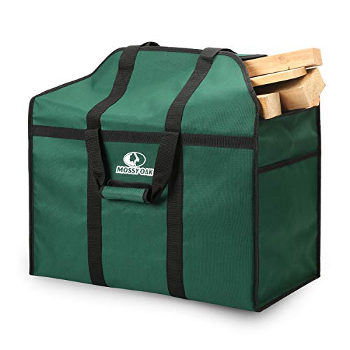 MOSSY OAK Firewood Log Carrier and Log Tote Bag for Fireplaces & Wood Stoves(Green)