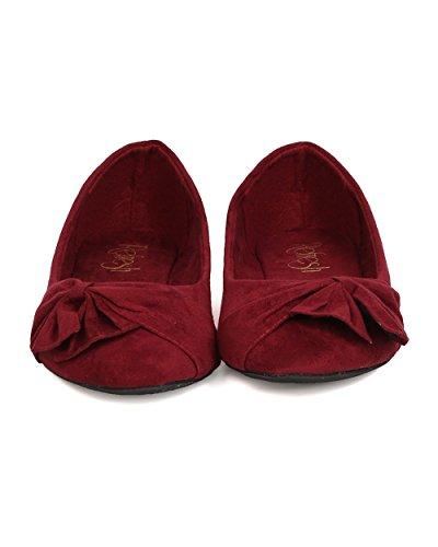 Alrisco Women Faux Suede Bow Flat - Casual, Chic, Kantoor - Ruched Ballet Flat - Gc69 Door Refresh Burgundy