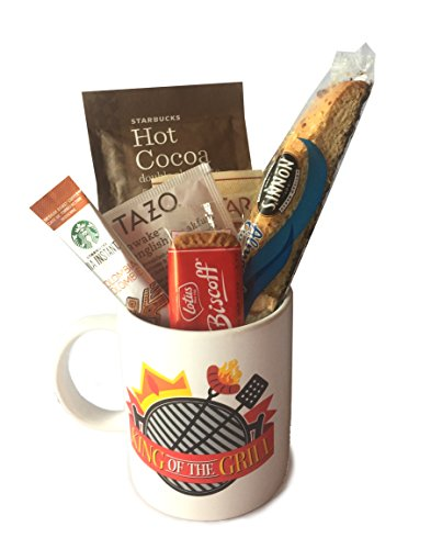 Coffee Tea Cocoa Mug Gift Set with Starbucks Via Coffee, Starbucks Hot Cocoa, Tazo Tea, Honey, Nonni's Biscotti + More -Lots of Cup Styles- (King Of The Grill)