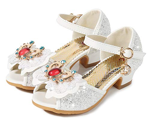 (Wedge Heel Sequin Sandals for Girls Wedding Dress Size 3 M Big Girls Princess Sequin Crystal 12Y High Low Heeled Sandals for Big Kids Girl (B White 35))