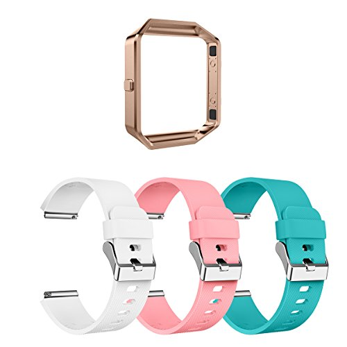 AIUNIT Fitbit Blaze Bands Large, Fitbit Blaze Watch Replacement Band Accessories Wristband Watch Sport Strap for Fitbit Blaze Smart Fitness Tracker Women Men Girls Boys(White Pink Teal)