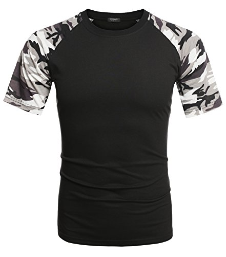 COOFANDY Mens Casual Short Sleeve Baseball T Shirt Camouflage Raglan Jersey Shirts,Black,X-Large (Camo Camouflage Raglan T-shirt)