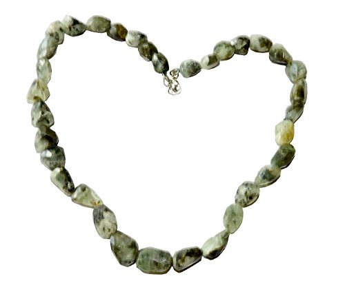 Prehnite Necklace 01 Faceted Nugget Beads Natural Spiritual Healing Crystal Energy (Gift Box)