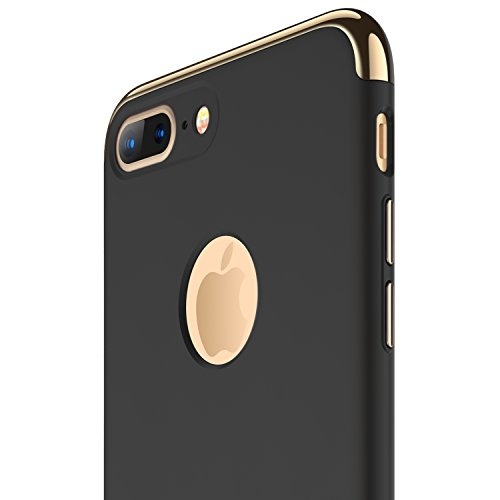 RANVOO iPhone 7 Plus Case, Thin Hard Slim Fit Stylish Cover with 3 Detachable Parts Case, Black...