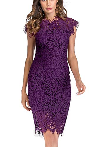 Women's Sleeveless Floral Lace Slim Evening Cocktail Mini Dress for Party DM261 (XL, Purple)
