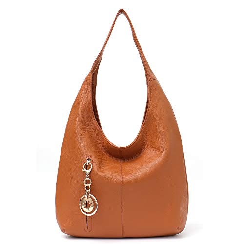 Hobo Bags - Bolso de hombro de piel vacuna suave para mujer, Bronceado