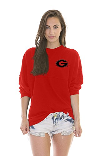 NCAA Georgia Bulldogs Women's Jade Long Sleeve Football Jersey, Red, Medium (Ncaa Dog Jersey Shirt)