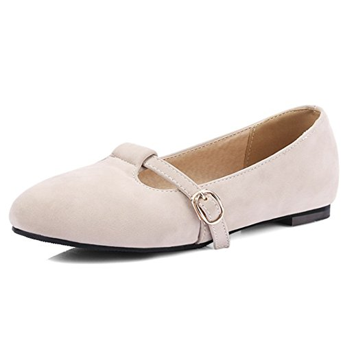 Aisun Womens Low Cut Buckle Strap Comfort Round Toe Go Easy Walking Driving Flats Shoes Beige