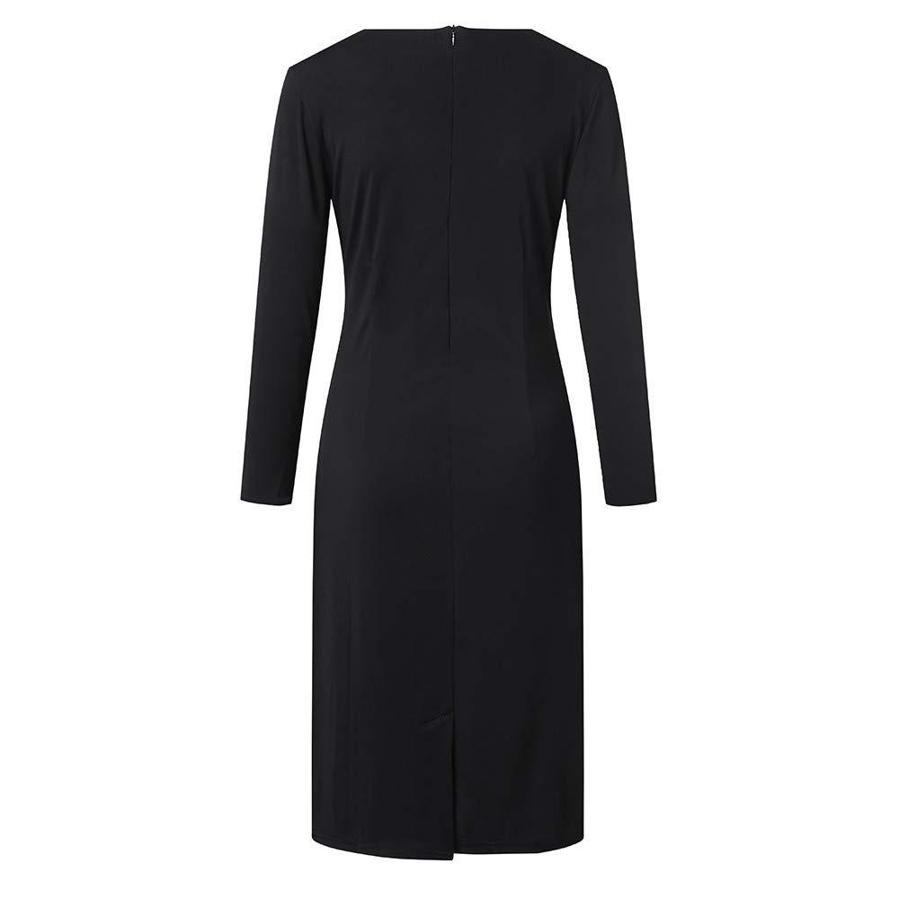 HYIRI ✈Stripe Round Neck Dress,Women Slim Fit Business Attire Dress