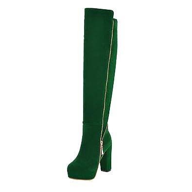 Ansenesna Stiefel Damen Mit Absatz Overknee Wildleder Blockabsatz Elegant  Schuhe Mit Reißverschluss Frauen Einfarbig Vintage Mode 677f67f8e2