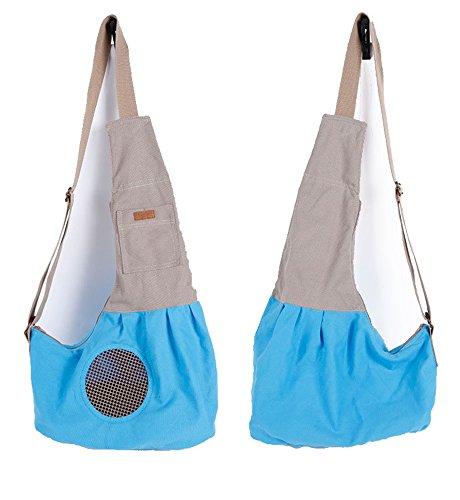 LILYS PET Pet Dog Cat Puppy Sling Carrier,Adjustable Pet Shoulder Bag Sling Carrier with Breathable Mesh Design (Blue)