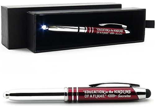 Teachers' Gift Pen with Flashlight and Stylus Tip, Engraved with Inspirational Socrates Quote -