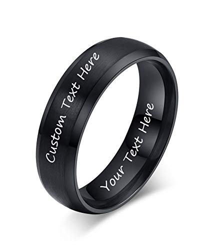 VNOX Customize Jewelry-6MM Black Stainless Steel Beveled Edge Matte Brushed Finish Rings for Men Women,Size 9