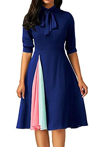Women's Elegant Vintage Tie Neck Half Sleeve Pleated Contrast Color Swing Flare Dress Blue-XL