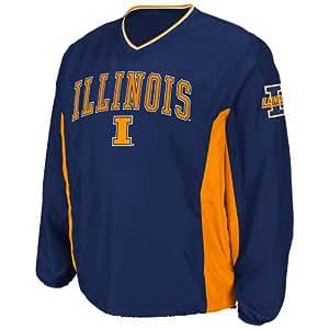 NCAA Illinois Illini Men's Slider Coaches Long Sleeve Pullover Jacket, Large, Navy