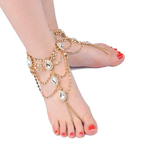 Sandalias para Mujer Brillantes de descalzado pie Color Dorado Cristales YLLY RdTnwR