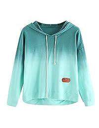 AMOUSTORE Women's Long Sleeve Casual Hoodie Sweatshirt Colorblock Tie Dye Print Tops Hoodies Sweatshirt Pullover