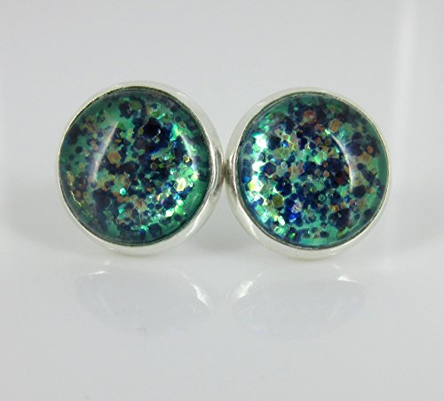[Silver-Tone Mermaid Tail Glitter Glass Stud Earrings 1/2