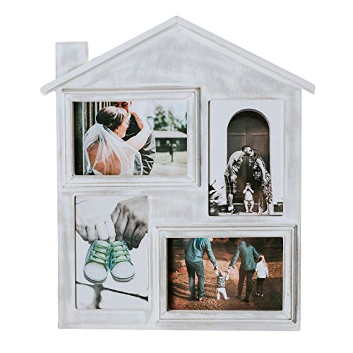 Farmhouse Picture Frame with Four 4 x 6 Picture Openings. Rustic Picture Frame is Ideal for Kitchen, Hanging, or Desk. Picture Frame is Rustic & Vintage Farmhouse Good for Table, Desktop or Wall (Collage Frame In A)