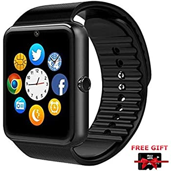 GT08 Smart Watch Bluetooth Smart Watch with Camera/Pedometer Analysis/Sleep Monitoring for Android (Full Functions) and IOS (Partial Functions)(Black)