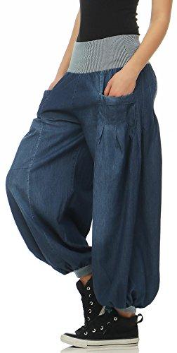 bouffant en malito Femme Aladin Denim Bleu Pantalon Taille style Pantalon Unique 6258 f6nqTEa6