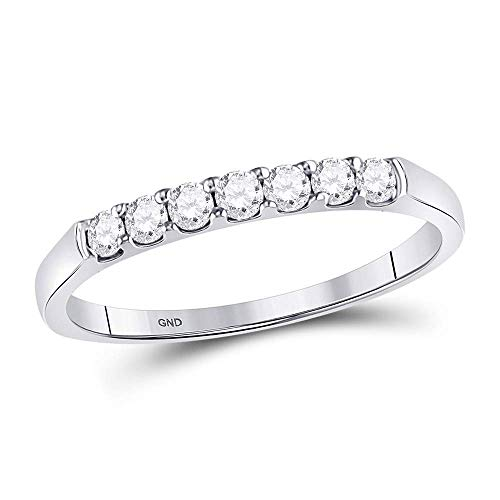 Jewels By Lux 14kt White Gold Womens Round Diamond Single Row Wedding Band 1/4 Cttw In Prong Setting (I1-I2 clarity; G-H color) Ring Size 7 - Ladies Single Diamond Band