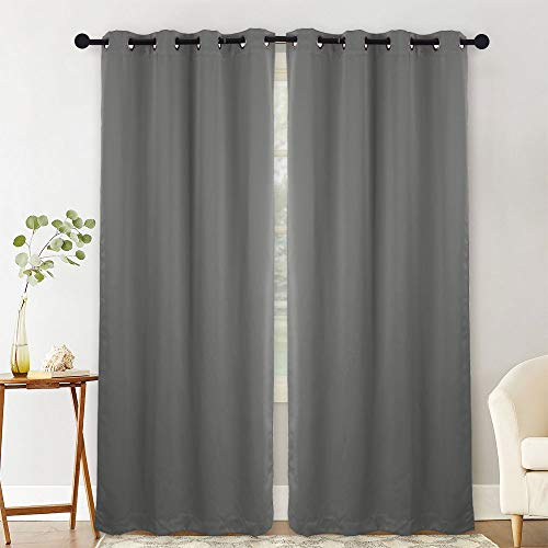 NANAN Blackout Curtains,Thermal Insulated Grommet Blackout Curtain Panels Window Drapes for Living Room,Solid Room Darkening Energy Efficiency Window Treatment - W52 x L95 Inch,2 Panels, Dark Grey ()