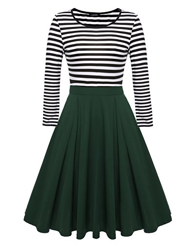 (ACEVOG Women's Scoop Neck Skater Dresses 3/4 Long Sleeve Casual Slim Fit Stripe Mini Dress)