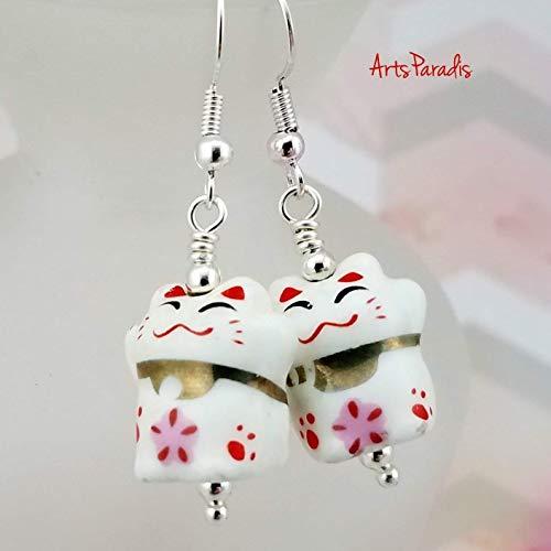 Small Lucky Maneki Neko Cat White and Silvertone Dangle Earrings by ArtsParadis - Japanese Kitten