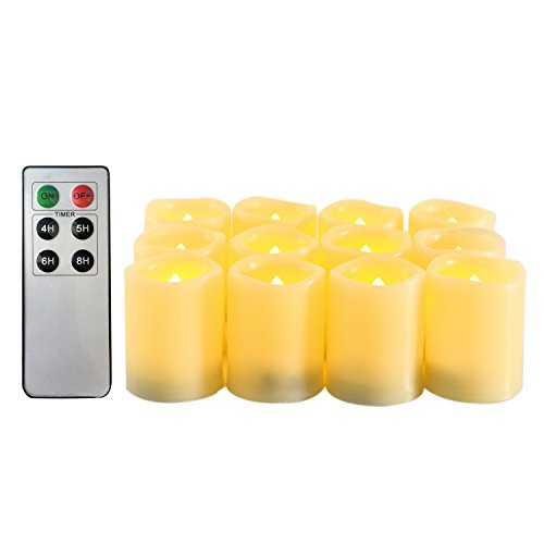 Candle Choice Flameless Candles Battery Operated LED Votive Candles with Timer 6 Keys Remote Control Candles 12 Pack