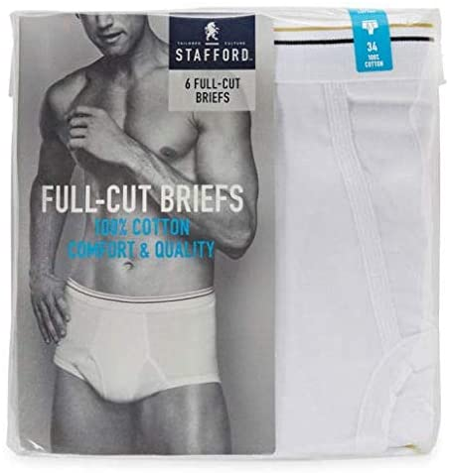 New Full Rise STAFFORD DRY+COOL Blended Mens White Underwear Briefs