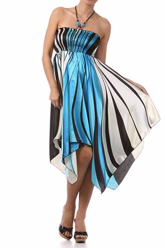 FOSatinSwirl12-5331 Swirl Design Satin Feel Beaded Halter Smocked Bodice Handkerchief Hem Dress - Turquoise / Small