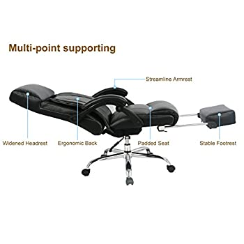 VIVA OFFICE High Back Bonded Leather Recliner Office Chair with Footrest