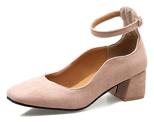 Aisun Womens Élégant Vegan Daim Habillé Carré Orteil Chunky Mi-talon Cheville Sangle Pompes Chaussures Rose
